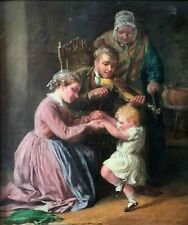 """""""THE DANCING CHILD"""" WILLIAM BROMLEY (1835-1888 ) ORIGINAL OIL SIGN & DATED 1862."""