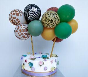 Balloon Cake Topper Garland Jungle Animal Party Safari Green Tropical Zebra Boy