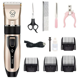 Rechargeable Dog Shaver Pet Electric ClippersTrimmer Kit Gold USB Low Noise