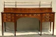 20TH C FEDERAL ANTIQUE STYLE BAKER SIDEBOARD IN MAHOGANY WITH BRASS GALLERY