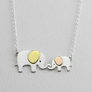 Far Fetched MAMA & BABY ELEPHANT Pendant NECKLACE STERLING Copper Brass