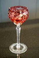 Stunning Bohemian Vintage Cranberry Crystal Wine Hock
