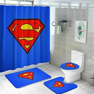Superman Bathroom Rug Set 4PCS Shower Curtain Non-Slip Toilet Lid Cover Bath Mat