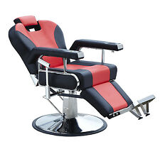 Modern  Hydraulic Recline Barber Chair Salon Beauty Spa Shampoo Hair Styling Red