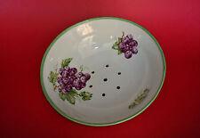 "7 1/2"" Dia. Grapes TransferWare Tripod Footed Porcelain Colander Strainer Bowl"
