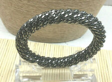 Fashion Bracelet Gunmetal Textured Mesh Tube Bangle NWOT