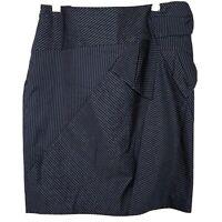 She Womens Pencil Skirt Black Gray Pinstripe Size Medium Above Knee Career
