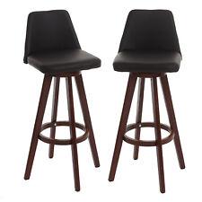 2x tabouret de bar Boras, chaise de comptoir, similicuir, rotatif ~ marron foncé