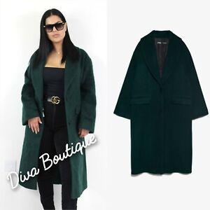 Zara AW 2019/20 Manteco Wool Coat with Shawl Collar Size S Free P&P NEW RRP £120