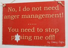 Naughty Anger Management Sign - Warning Pub Bar Man Cave Office Workshop Wood