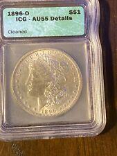 1896-O Morgan Silver Dollar.  ICG=AU-55