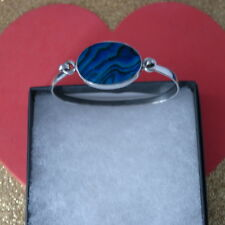 Beautiful 925 Silver Bracelet With New Zealand M.O.P Abalone 6.5 x 4 Cm. Wide
