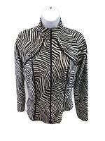Joseph Ribkoff Women's Black/White Animal Print Full Zip Jacket Sz 8