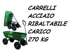 CARRELLO TRAINO ACCIAIO 4 RUOTE RIBALTABILE 270 KG CARRELLINO TRASPORTO GIARDINO