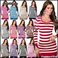 Sexy Women's Jumper Ladies Pullover Lace Striped Sweater One Size 8,10,12,14 UK