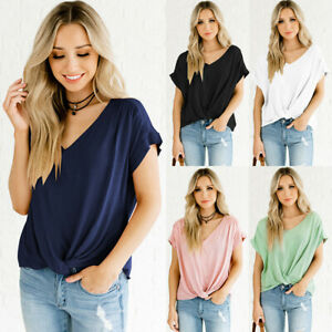 UK Womens Blouse Baggy Casual Shirt Cropped Pullover Twisted Tee Ladies Tops