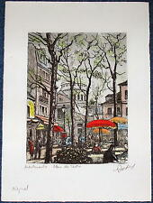 Hand Colored Etching by MAURICE JACQUE Montmartre Paris Sacre-Coeur Basilica