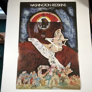 "Washington Redskins Poster VTG 1974 Autographed By Players Unknown Years 36""x24"""
