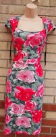 LAURA ASHLEY PINK GREY ROSES FLORAL BODYCON TUBE PENCIL SUMMER TEA DRESS 8 S