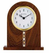 Bulova Hampton Arched Wood Brown Cherry Stain Analog Quartz Tabletop Clock B5401
