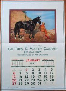 Pinup Cowgirl 1952 20x28 Poster/Advertising Calendar: Woman & Horse, Black Magic