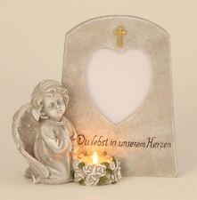 Engel neben Stein Teelicht Bild 20 cm Grabschmuck Grabdeko Grabstein Gedenkstein