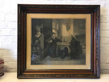 Antique After CM Webb Engraving Print Checkmate Chess Match Between 2 Men