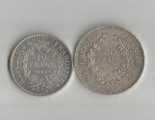 REPUBLIQUE FRANCAISE -50 FRANCS + 10 FRANCS - 1977 + 1972 - SILVER