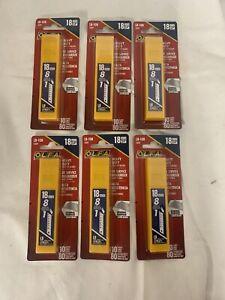 """Lot of 6 OLFA LB-10B, 5009, 18MM (3/4"""") 10 packs"""