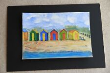 New Seaside Scene Beach Huts watercolour 21cm x 30cm unmounted unframed