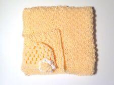 Crocheted Preemie Baby Blanket and hat- Handmade Peach Baby Afghan and hat