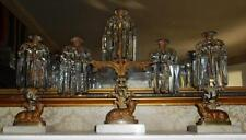 Antique 3-pc Bronze Stag Candelabra Girandole Mantle Set Marble Prisms