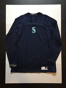 Nike Pro Dri-Fit Seattle Mariners Arm Fleece Fitted L/S Shirt Mens Size L NWOT