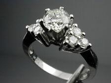 1287 SALE Platinum Diamond Engagement Ring 1ct TW Center VVS K Diamond Sz 5 3/4