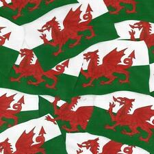 Fat Quarter Welsh Flag Dragon Cotton Quilting Fabric Nutex 11310 101