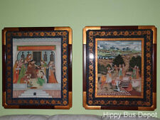36x41 Magnificent PAIR Persian Indian Mughal Framed Courtyard Scenes Paintings