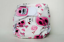Pink skull modern cloth nappy - an eatmyfeet product