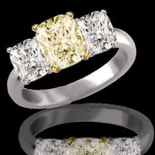 3.87 Carat 3 Stone Fancy Yellow Cushion Cut Diamond Engagement Ring I1