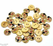 8 botones flor madera botones botón dos agujeros coser joyas 15 mm redondo #