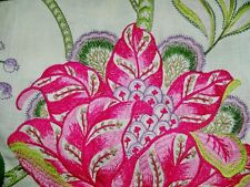 MANUEL CANOVAS DANA JACOBEAN EMBROIDERED LINEN FABRIC 10 YARDS ROSE VIOLET GREEN