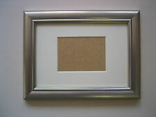 SILVER WOODEN ACEO/SCHOOL PICTURE 3.5X2.5 INCH PICTURE FRAME WITH IVORY MOUNT