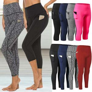 Womens High Waist Yoga Leggings Ladies Active Sports Gym Capri 3/4 Pants Trouser
