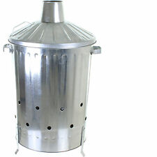 90L Galvanised Incinerator Garden Fire Bin Paper Rubbish Leaves Burner Metal NEW