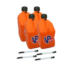 4 Pack VP Racing Orange 5 Gallon Square Fuel Jug/4 Deluxe Hoses/Water/Gas Can