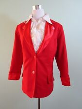 Fashion Ladies Vtg Retro 80s Red Formal Beads Embellish Blazer Jacket sz L AV41