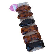 "LADIES 6 x Spring Plastic Hair Clips 4"" Tortoiseshell & Black Oval & Bow Design"