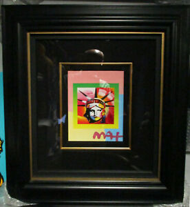 Peter Max Liberty Head II on Blends Americana Suite 2006 Mixed Media Signed COA