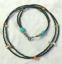 Afghan Black Glass & Natural Multi Stone Tiny Seed Beads Necklace Multi Strand