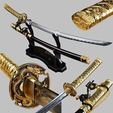 Gold Tachi Fittings High Carbon Steel Sword Japanese Samurai Katana cut bamboo