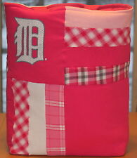 Detroit Tigers Baseball T-Shirt Tote Bag, Pink Plaid Patchwork Handmade Upcycled